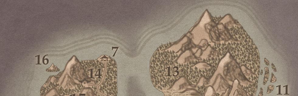Carte d'Azlora, une île au Nord Ouest d'Elduïn, un haut lieu magique de l'univers d'Unknown Echoes.