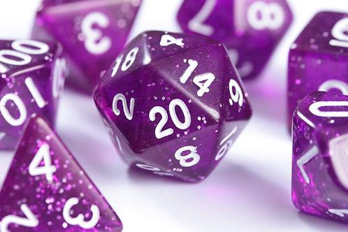 Set de dés en résine Paillettes violet