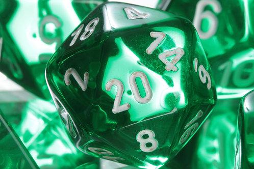 Set de dés en résine Translucide Vert