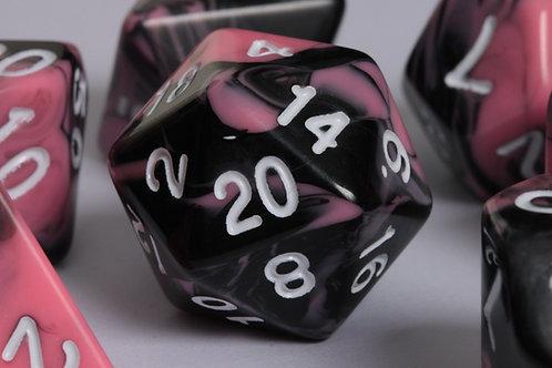 Set de dés en résine marbrée Rose-Noir