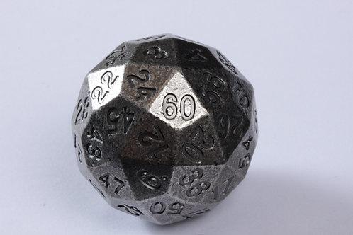 Dé à 60 faces en métal Argent Vieilli