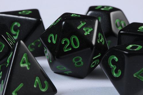 Set de Dés en Résine Opaque Noir-Vert
