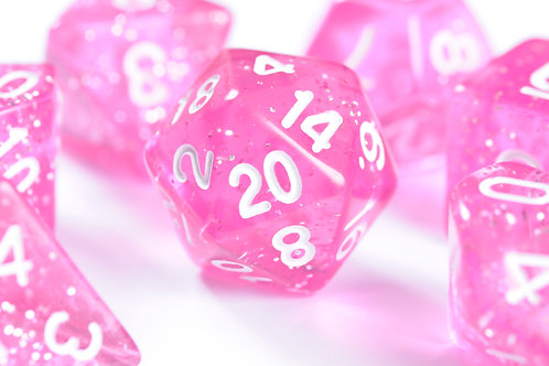 Set de dés en résine Paillettes rose