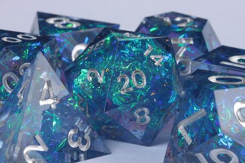 Set de dés en résine Super Sharp Edge Feu Bleu