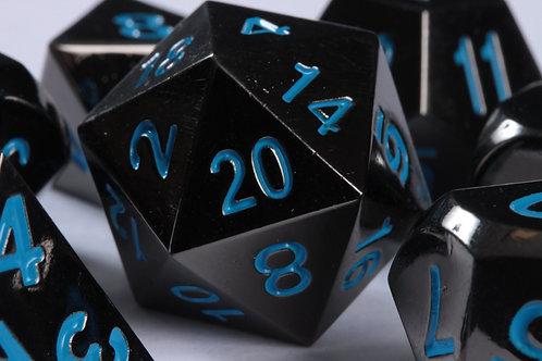Set de dés en Métal Obscur Bleu