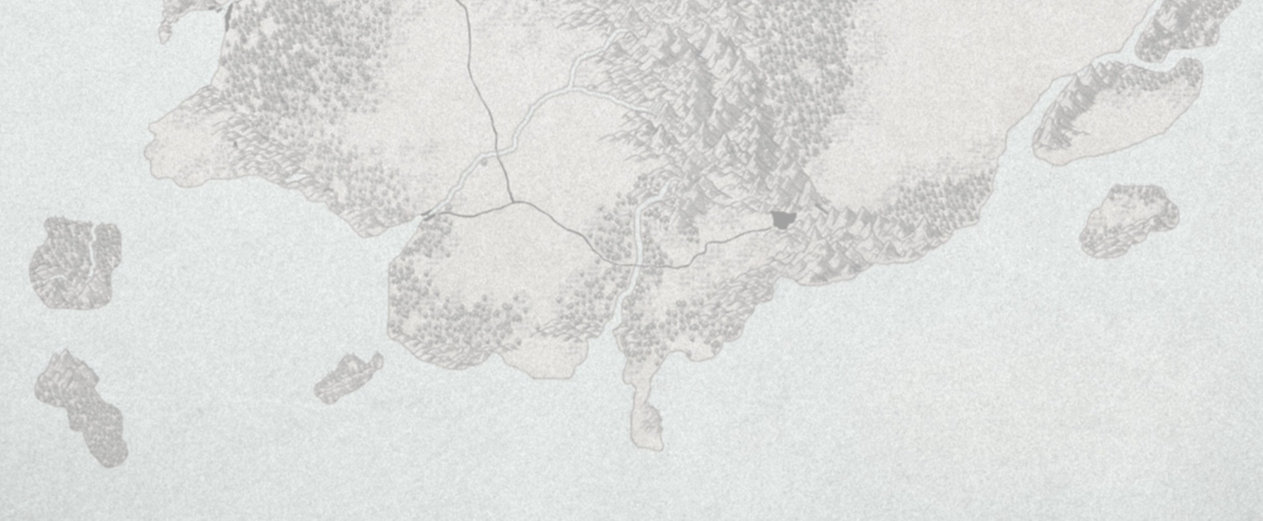 Partie basse de la Carte d'Elduïn, le continent principal de l'univers d'Unknown Echoes.