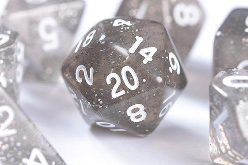 Set de dés en résine Paillettes argenté