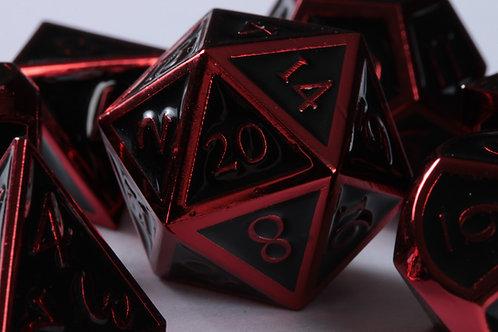 Set de dés en Métal Enameled Noir et Rouge