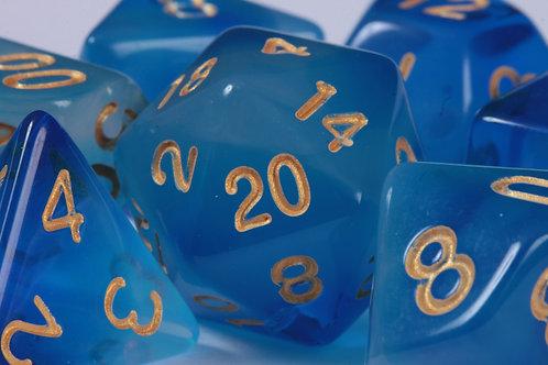 Set de dés en résine Nuages Bleus