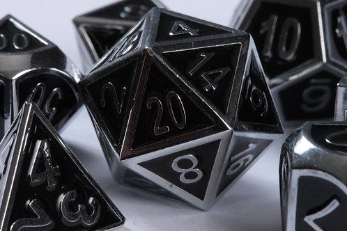 Set de dés en Métal Enameled Argent-Noir