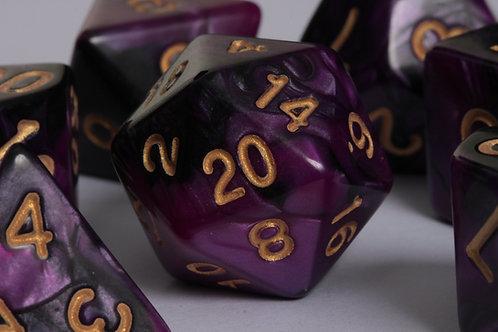 Set de dés en résine marbrée Violet-Noir