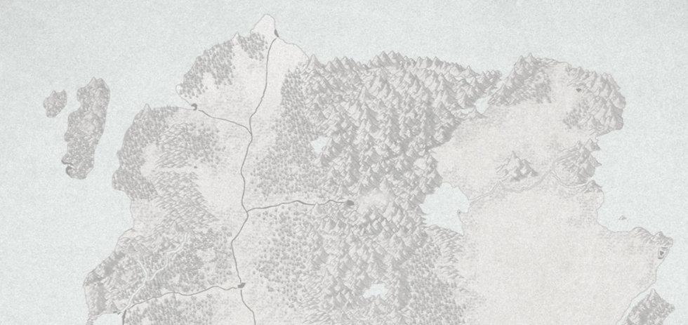 Carte d'Elduïn, continent principal de l'univers d'Unknown Echoes