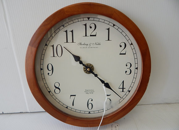 Sterling & Noble Round Oak Wall Clock