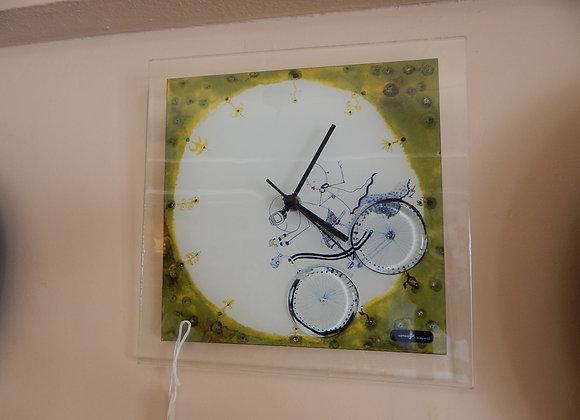 Carneol Glass Wall Clock - Bicycle Theme