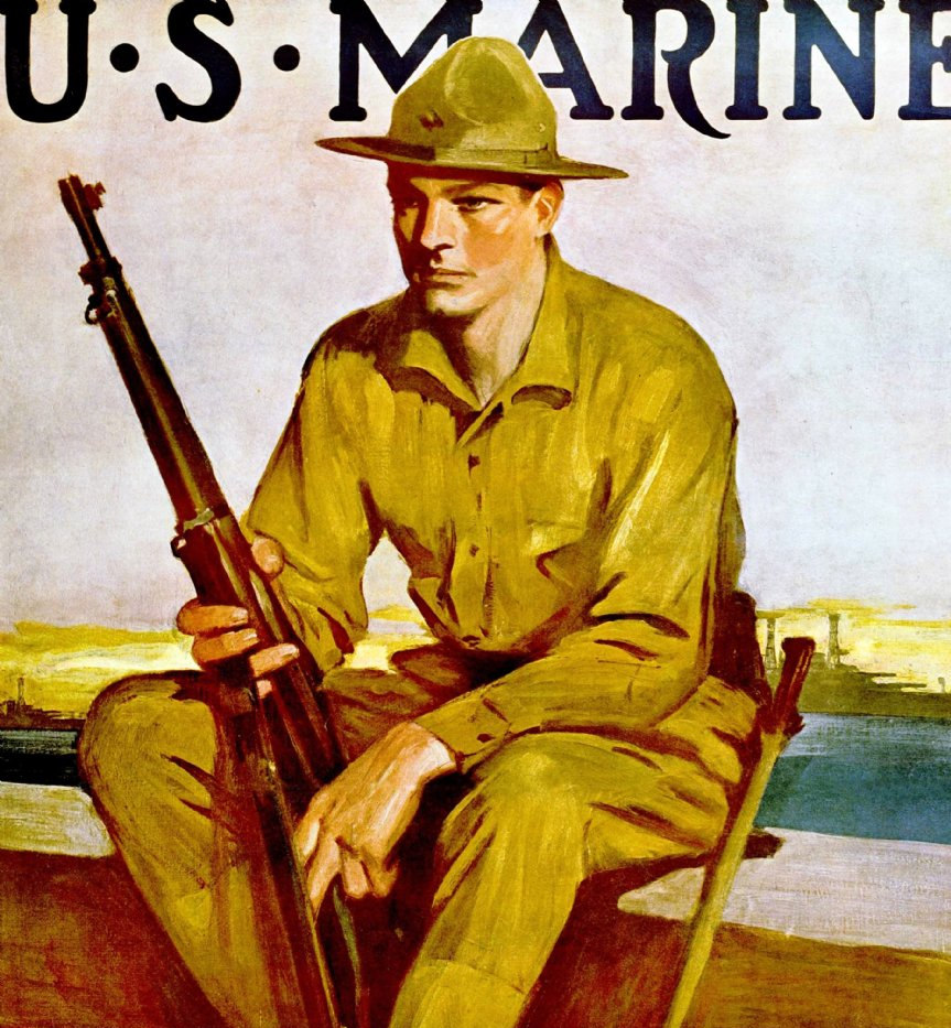 US Marine Be a Sea Soldier WW1 poster ex