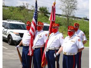 MCL Det 1267 Color Guard Presents the colors at Mission BBQ.