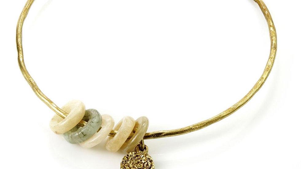 Venus Brass Gemstone Charm Bangle