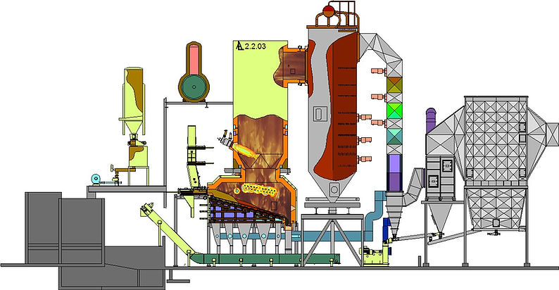 Combined Heat and Power plant, wood fired furnace, pellet plant