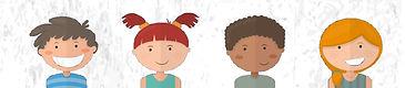 Dibujo de dos niñas y dos niños sonriendo