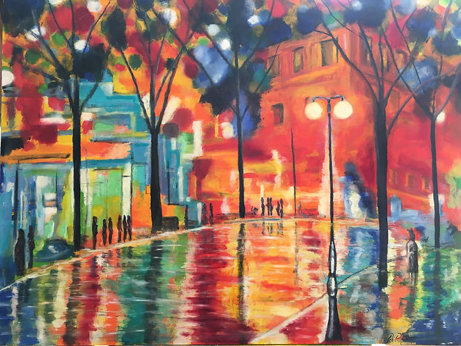 Cityscape Rainy Evening
