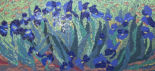 Wall Mosaic Van Gogh's Blue Irises