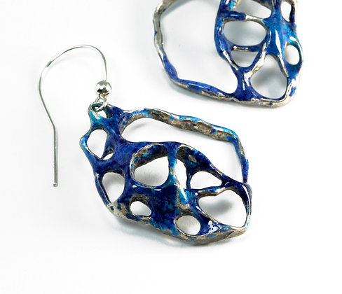 Blue Enamelled Silver Lace Ring