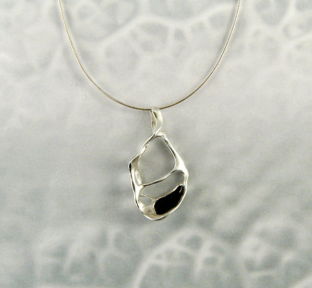 Lace Silver Pendant with Black Enamel
