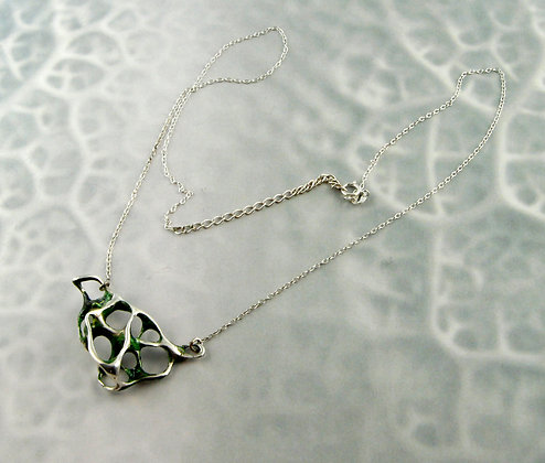 Green Enamelled Silver Lace Necklace