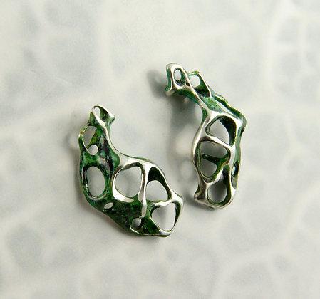 Green Enamelled Silver Lace Earrings