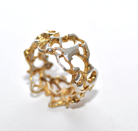 Gold plated Lace Silver Ring