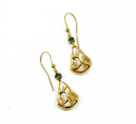 Gold Dangle Earrings with blue sapphires