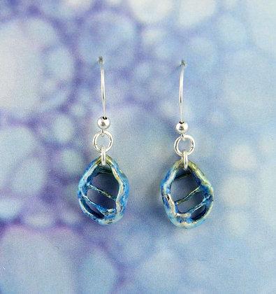Light Blue Enamelled Silver Earrings