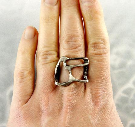 Silver Black Sculptural Ring