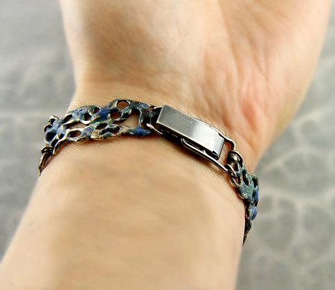 Enamelled Silver Lace Bracelet