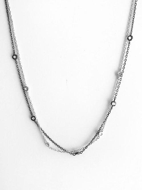 Colar de Prata Duplo com Ródio e Ródio Negro
