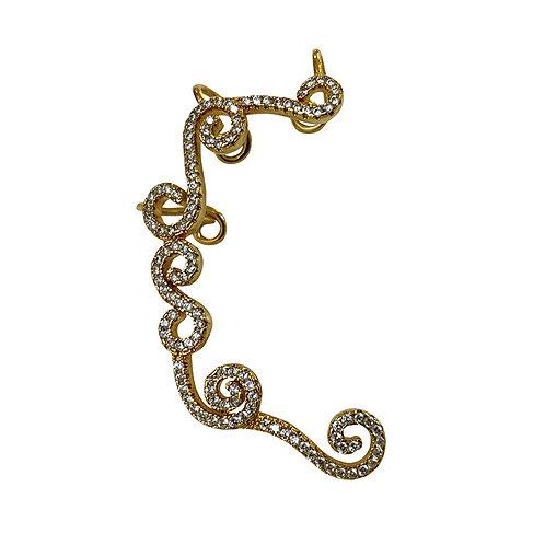 Meio Earcuff de Prata com Banho de Ouro Amarelo e Zirconias