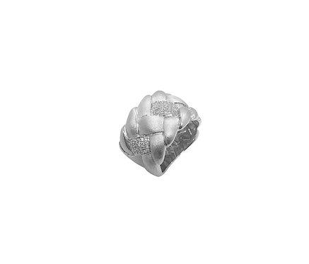 Anel de Prata com Ródio e Zirconias Fosco Entrelaçado