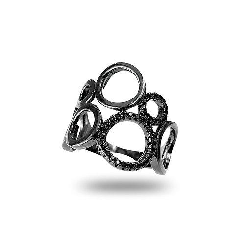 Anel de Prata com Ródio Negro Zircônias Negras Círculos