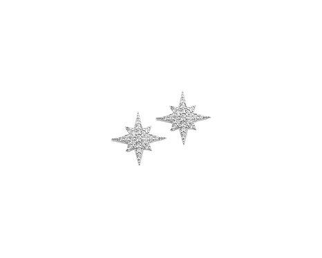 Brinco de Prata com Rodio e Zirconias Estrela