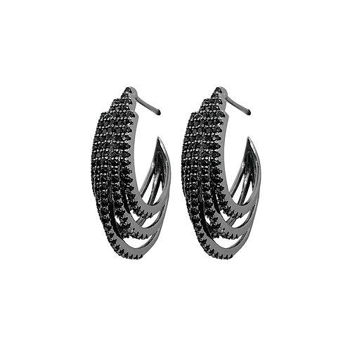 Brinco de Prata com Rodio Negro e Zirconias Negras