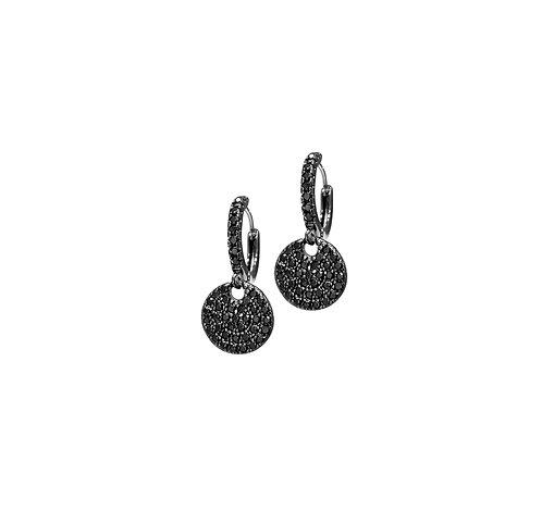 Argola de Prata com Rodio Negro e Zirconias Negras