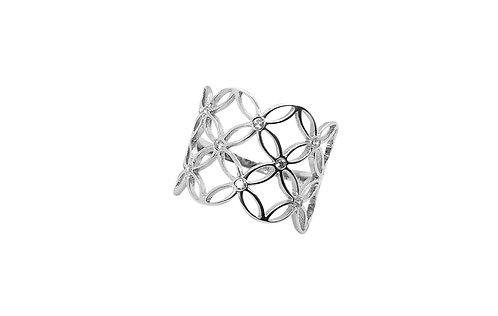 Anel de Prata com Ródio e Zircônias Flores Vazadas