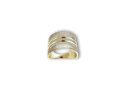 Anel de Prata com Banho de Ouro Amarelo e Zircônias
