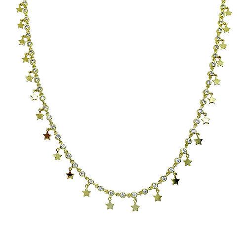Chocker de Prata com Banho de Ouro Amarelo Zirconias e Estrelas