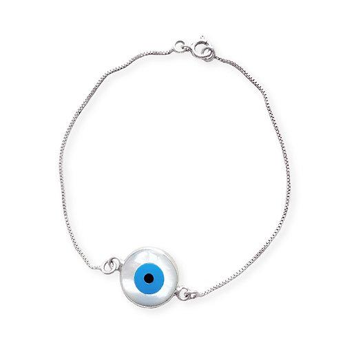 Pulseira de Prata Olho Grego Madre Perola