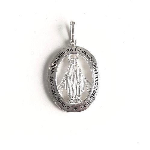 Medalha de Prata Nossa Senhora das Graças com Gravação em Inglês