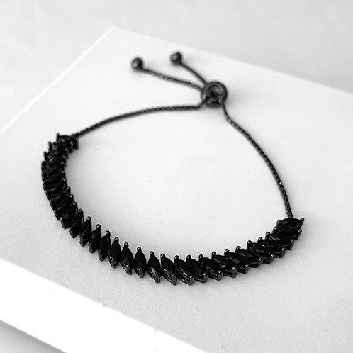 Pulseira de Prata com Rodio Negro, Zirconias Negras e Fecho Ajustavel