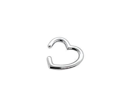 Piercing de Coração de Prata com Ródio