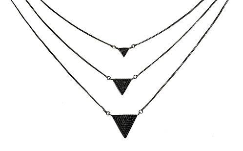 Colar de Prata com Rodio Negro e Zirconias Negras 3 Fios