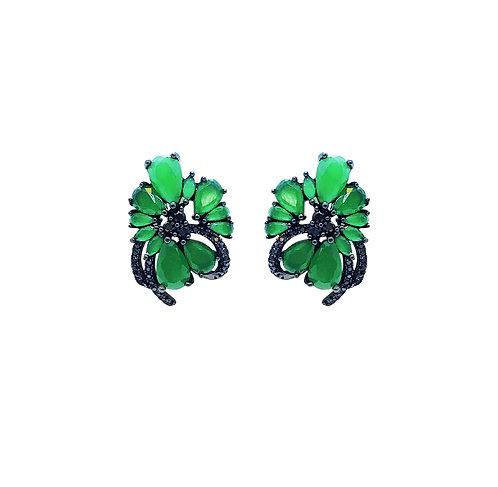 Brinco Negro Zirconias Verdes